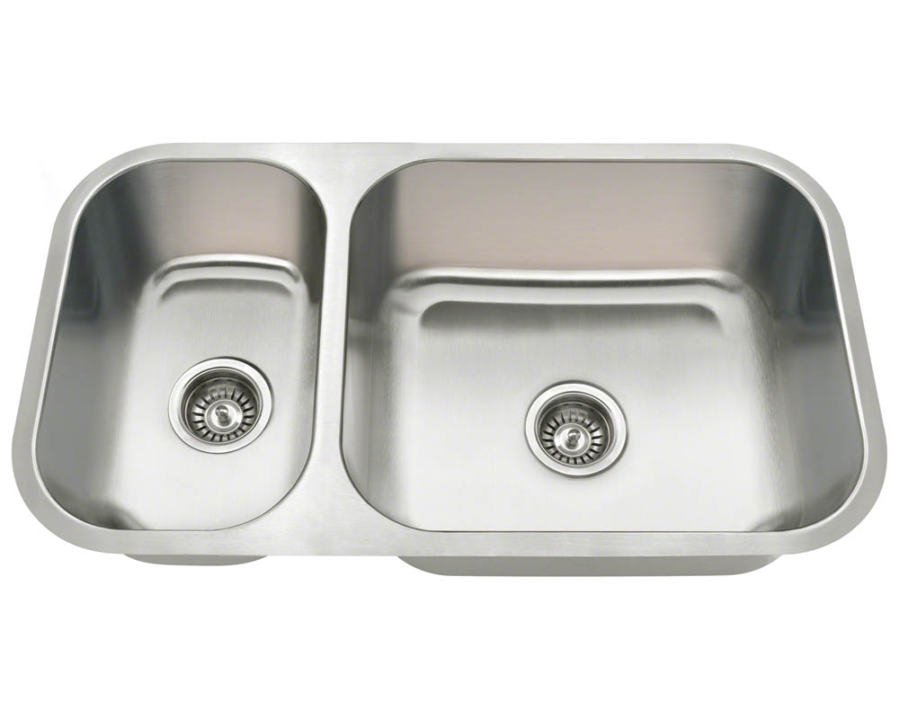 PB8123R Offset Double Bowl Undermount Stainless Steel Sink