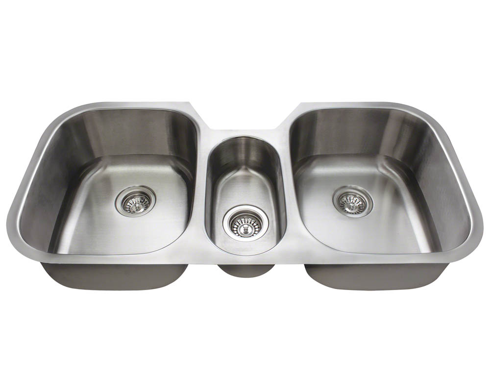 P1254-16 Triple Bowl Stainless Steel