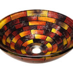 P126 Stained Glass Vessel Bathroom Sink