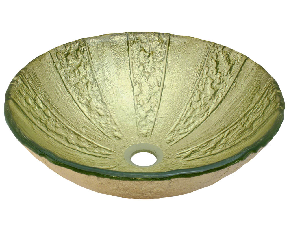 P326 Gold Foil Glass Vessel Bathroom Sink