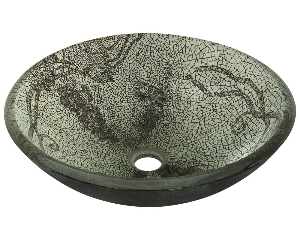 P426 Cracked Vineyard Glass Vessel Bathroom Sink