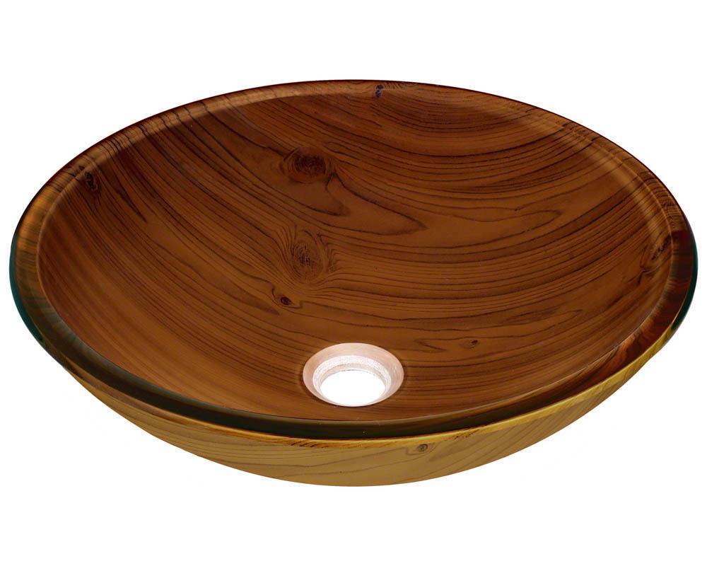P826 Wood Grain Glass Vessel Bathroom Sink