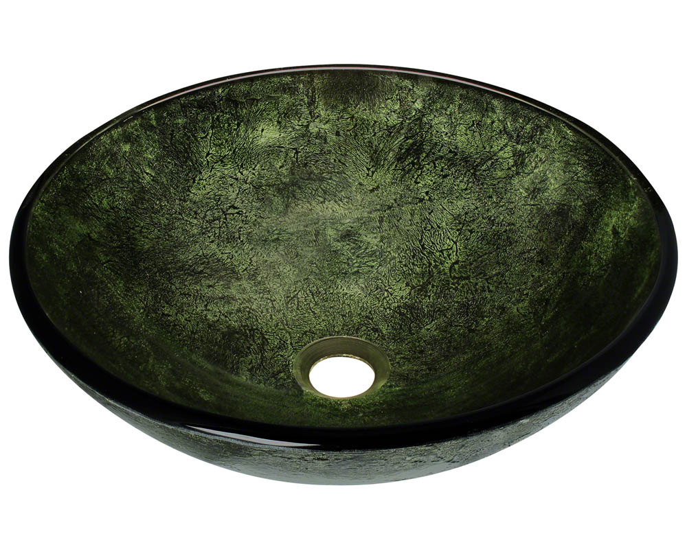P926 Forest Green Glass Vessel Bathroom Sink