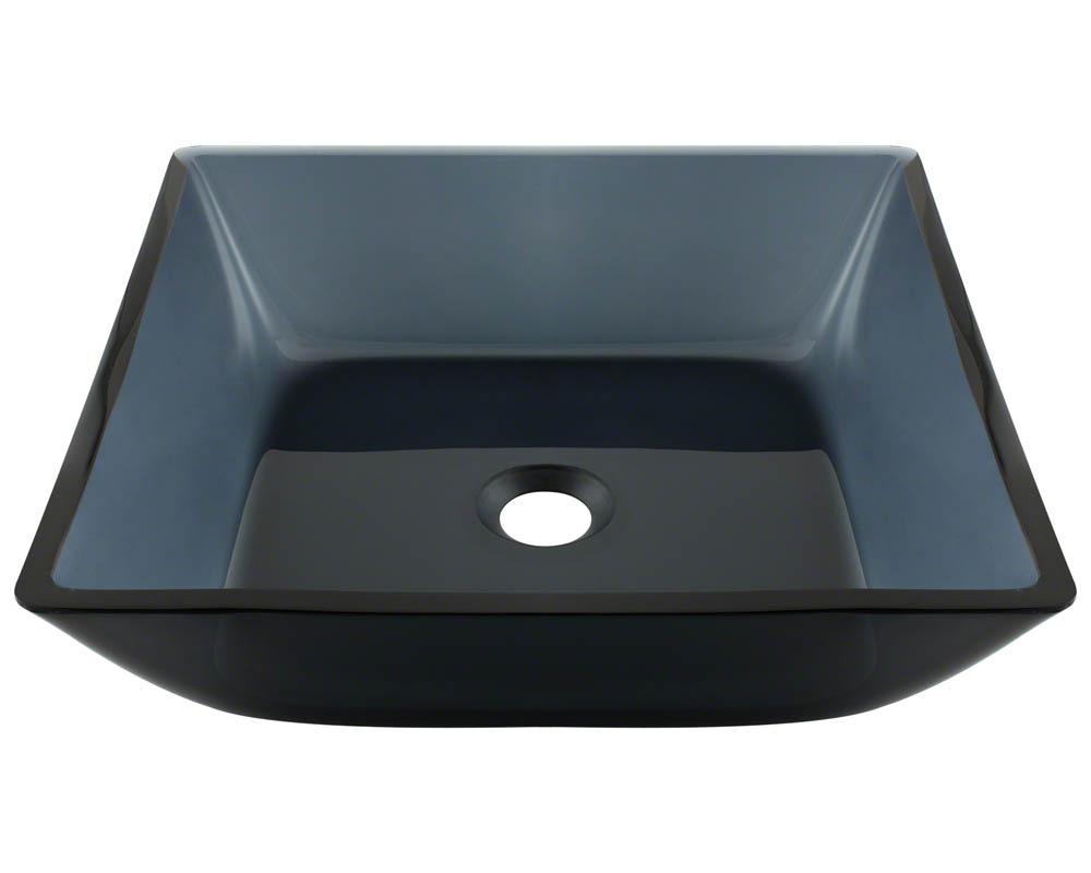 P036 Square Black Glass Vessel Bathroom Sink