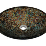 P436 Hand-Painted Foil Undertone Glass Vessel Sink