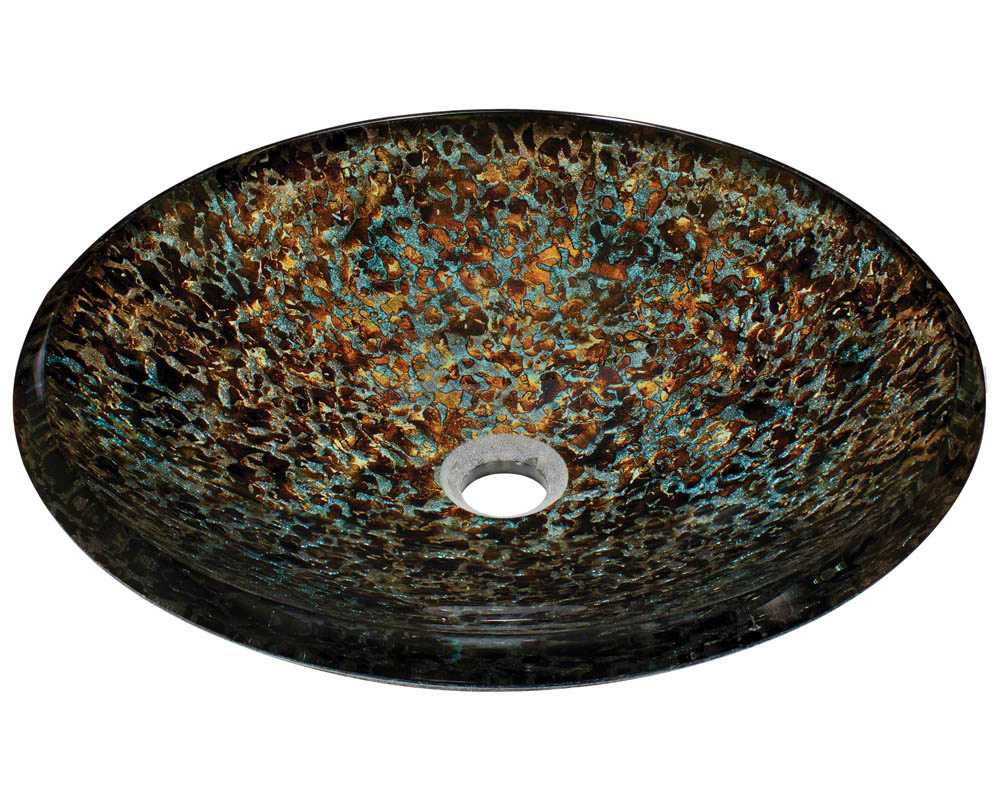 P436 Hand-Painted Foil Undertone Glass Vessel Sink