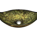P346 Foil Undertone Leaf Glass Vessel Sink