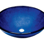 P446 Foil Undertone Blue Glass Vessel Sink