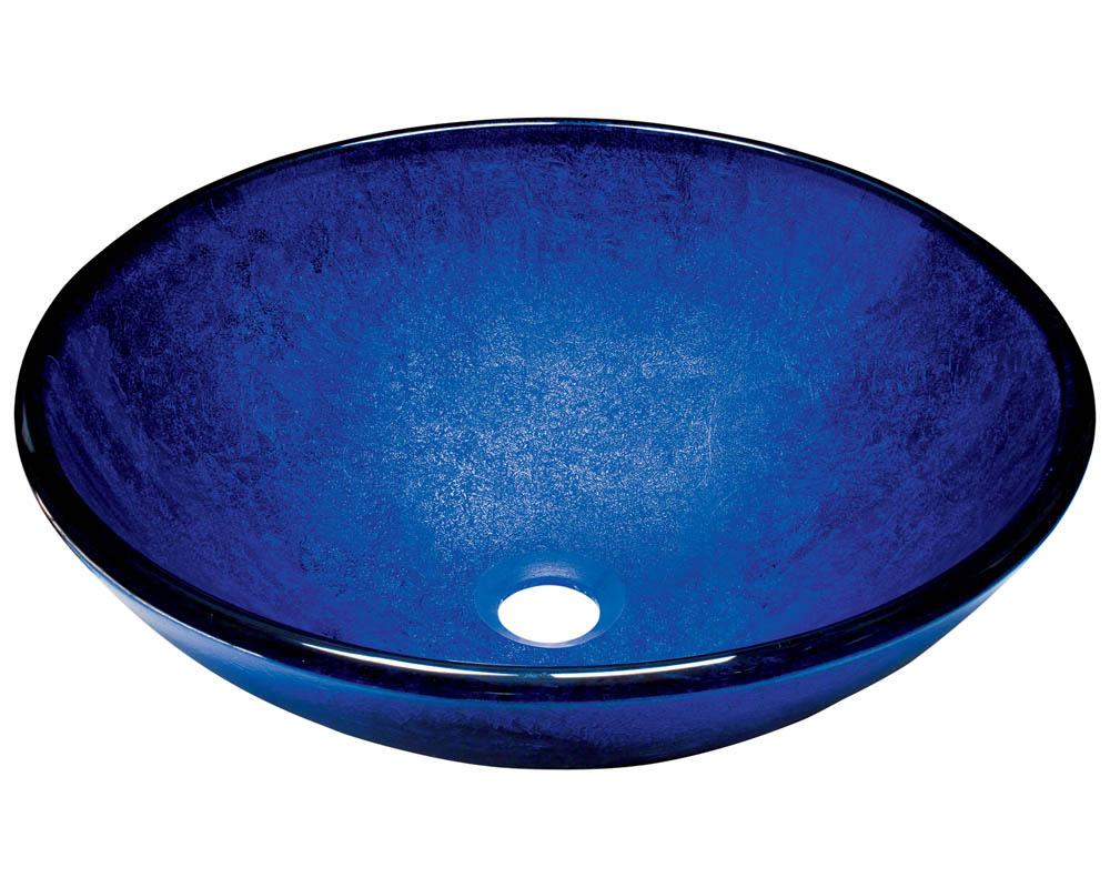 P446 Foil Undertone Blue Glass Vessel Sink