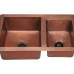 P109 Offset Double Bowl Copper Sink