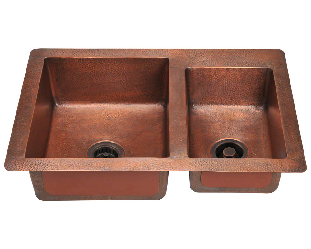 P109 Offset Double Bowl Copper Sink