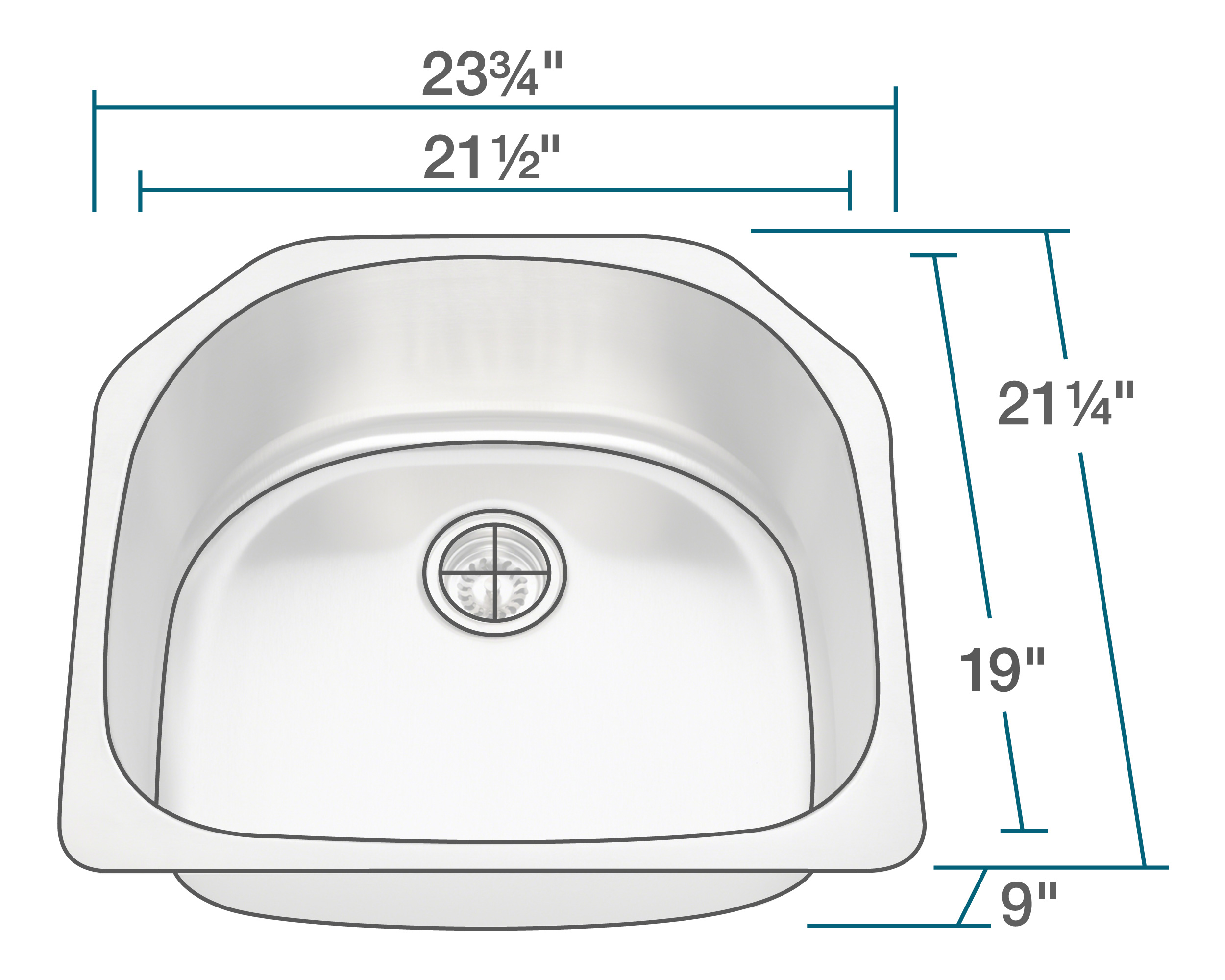 P1242-16 D-Bowl Stainless Steel Kitchen Sink