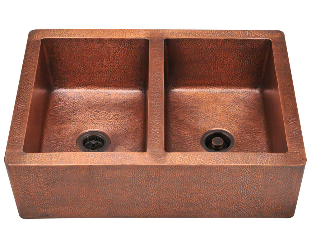 P219 Equal Double Bowl Copper Apron Sink