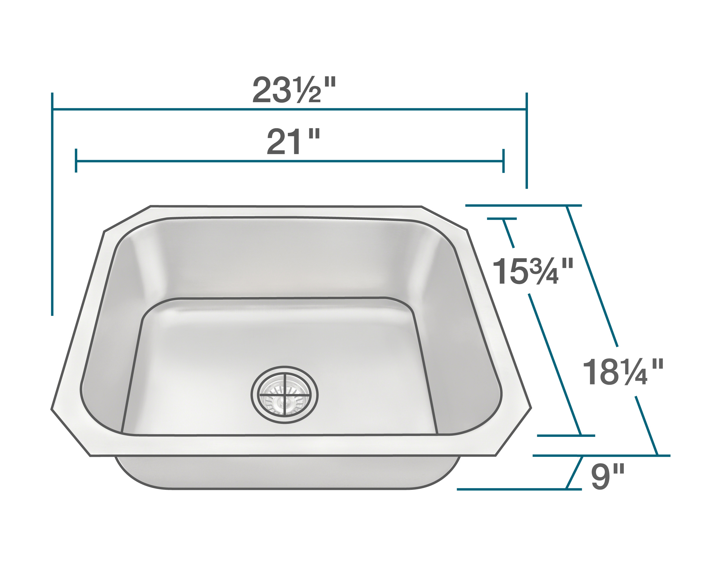 P8301US Single Bowl Stainless Steel Kitchen Sink