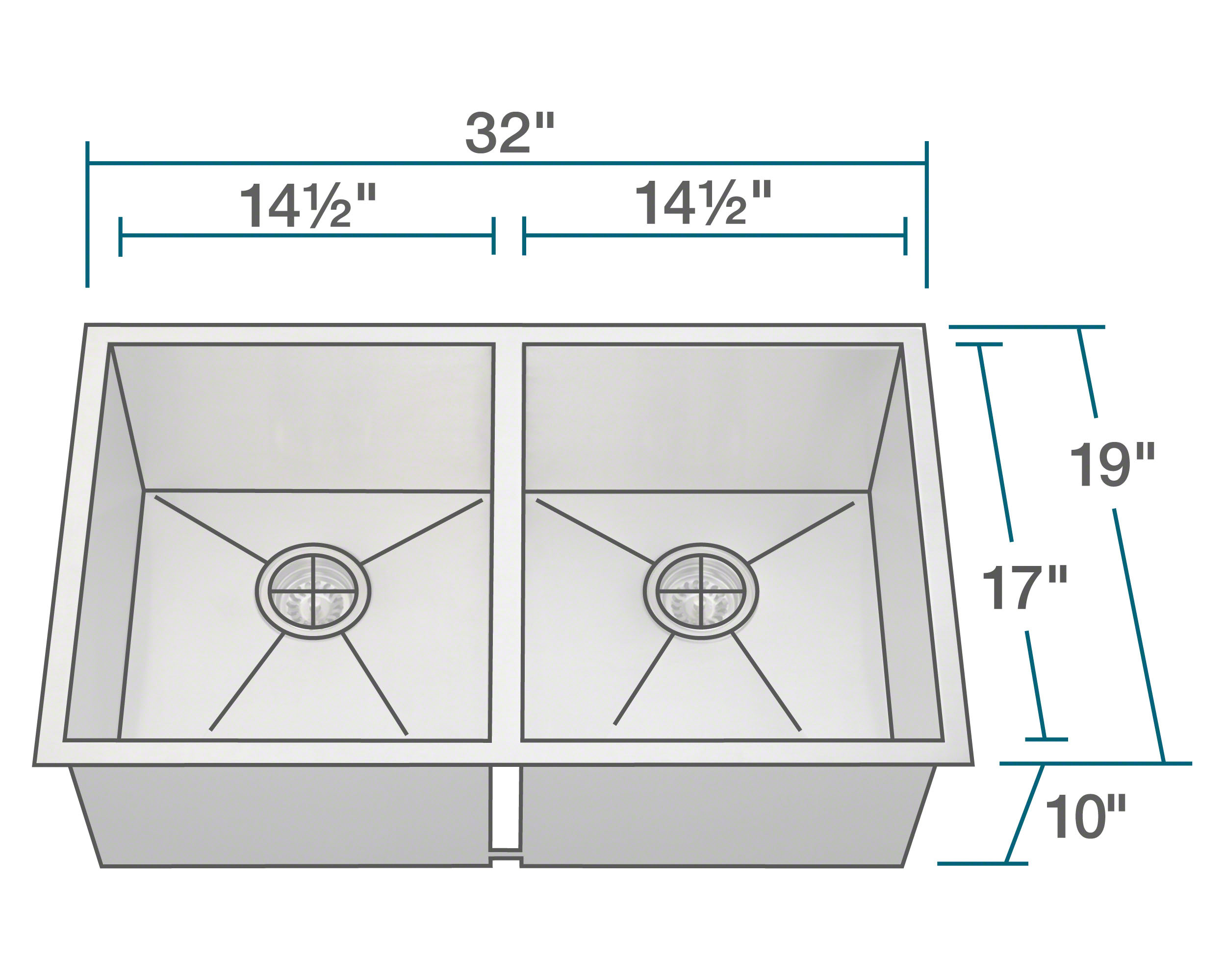 PD2233 Double Equal Rectangular Stainless Steel Kitchen Sink