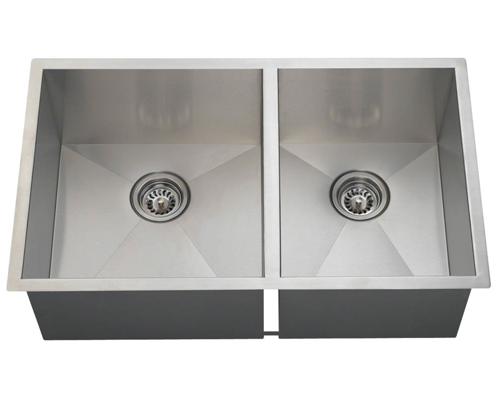 POL2233 Double Rectangular Stainless Steel Sink