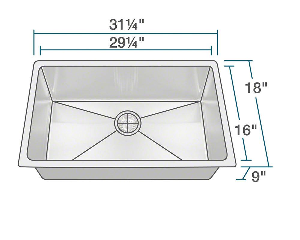 """PS0213 Undermount 3/4"""" Radius Sink"""
