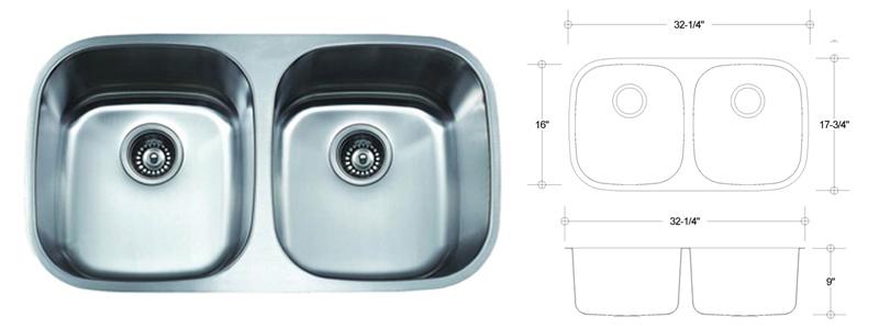CTE-ES-50/50 Stainless Steel 18 Gauge Undermount Dual Size Kitchen Sink