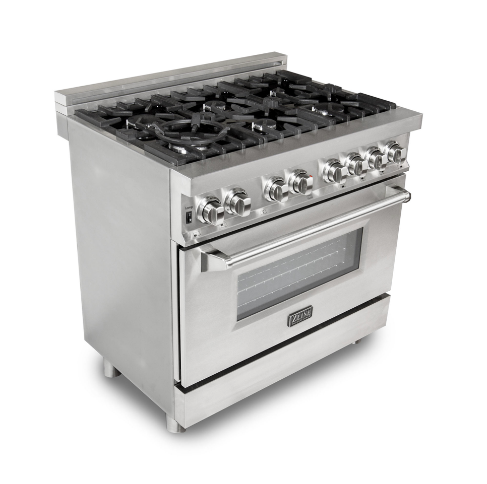 Zline Ra36 Stainless Steel 36 Wide Dual Fuel Commercial